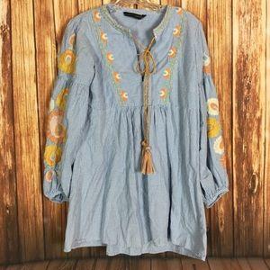 Zara Gingham Floral Embroidered Tassel Peasant Top